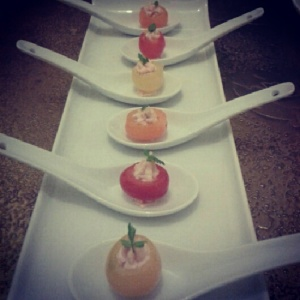 Smoked salmon mousse stuffed in cherry tomatoes